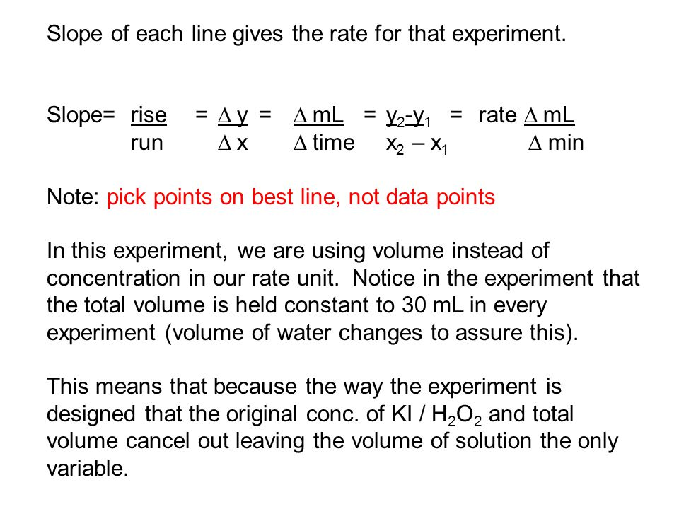 Slope of each line gives the rate for that experiment. Slope=rise=  y =  mL = y 2 -y 1 = rate  mL run  x  timex 2 – x 1  min Note: pick poi