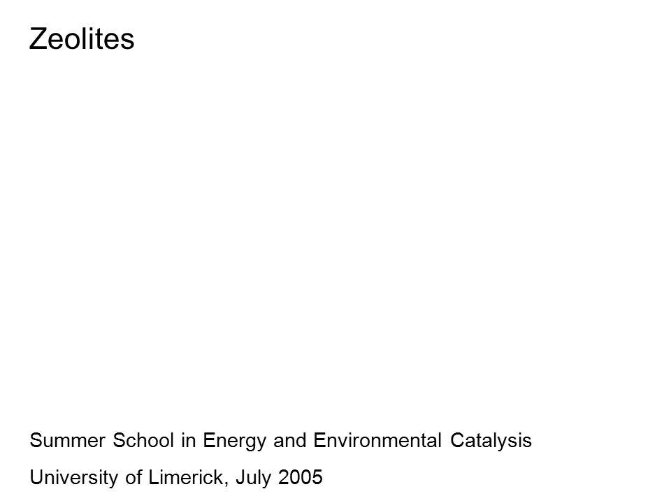 Zeolites Summer School in Energy and Environmental Catalysis University of Limerick, July 2005