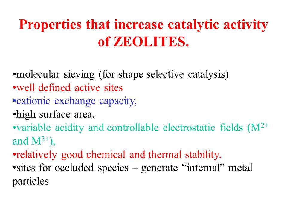 Properties that increase catalytic activity of ZEOLITES.