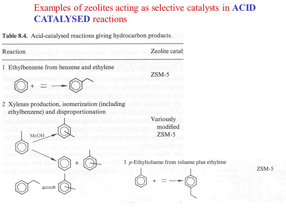Examples of zeolites acting as selective catalysts in ACID CATALYSED reactions