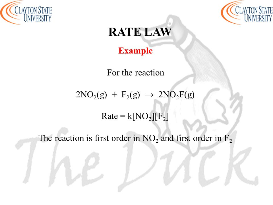 Example For the reaction 2NO 2 (g) + F 2 (g) → 2NO 2 F(g) Rate = k[NO 2 ][F 2 ] The reaction is first order in NO 2 and first order in F 2 RATE LAW