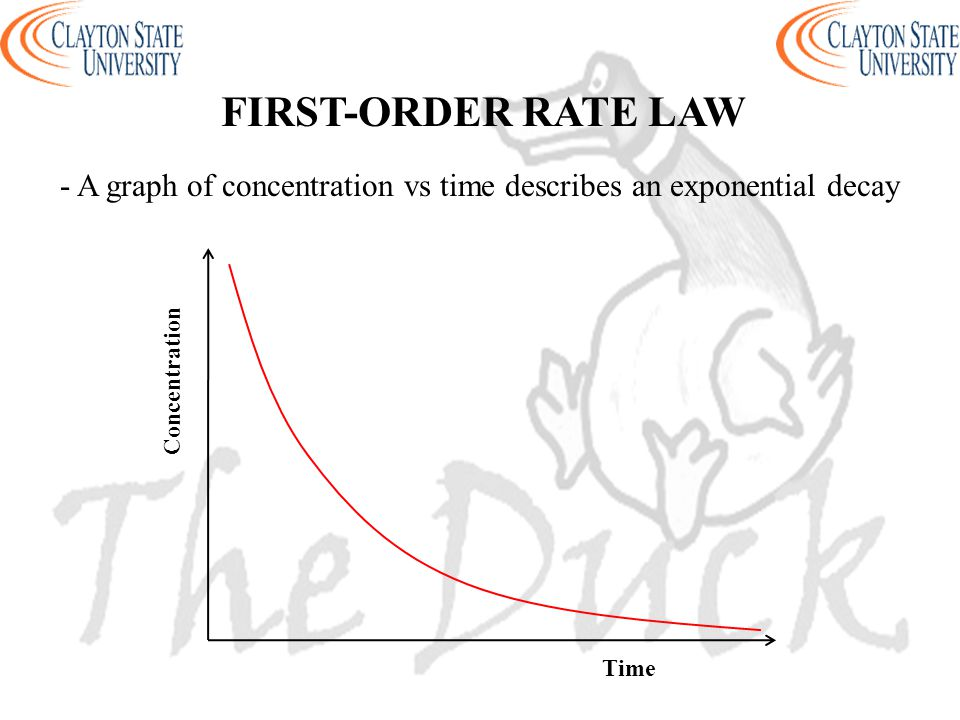 - A graph of concentration vs time describes an exponential decay FIRST-ORDER RATE LAW Concentration Time