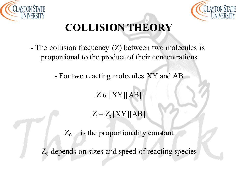 COLLISION THEORY - The collision frequency (Z) between two molecules is proportional to the product of their concentrations - For two reacting molecul