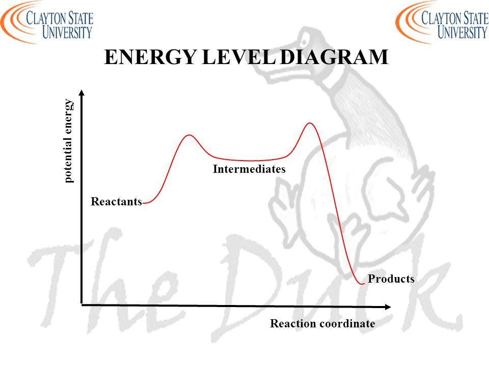 Reaction coordinate potential energy ENERGY LEVEL DIAGRAM Products Intermediates Reactants