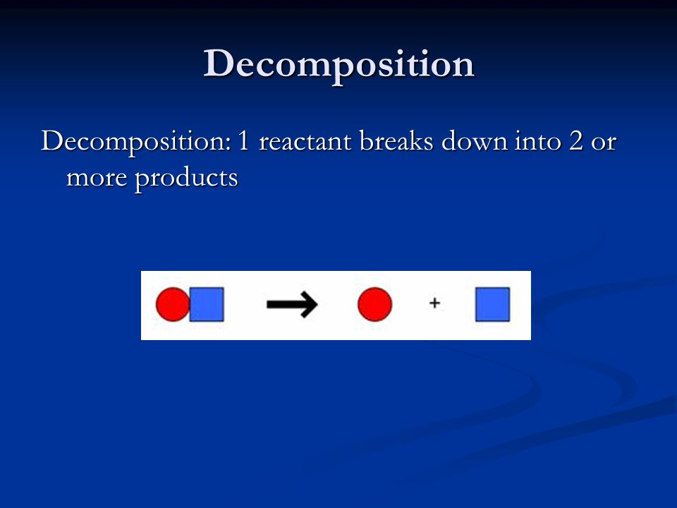 Decomposition Decomposition: 1 reactant breaks down into 2 or more products