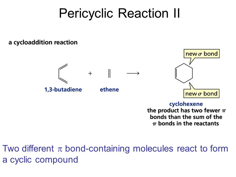Pericyclic Reaction III A  bond is broken in the reactant, a new  bond is formed in the product, and the  bonds rearrange