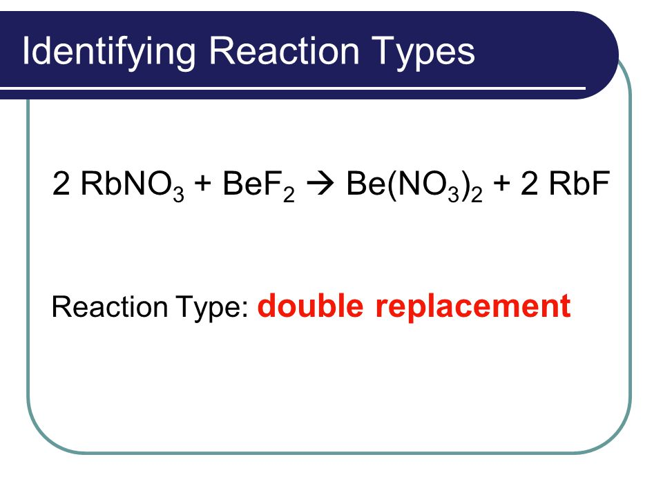 Identifying Reaction Types 2 RbNO 3 + BeF 2  Be(NO 3 ) 2 + 2 RbF Reaction Type: double replacement
