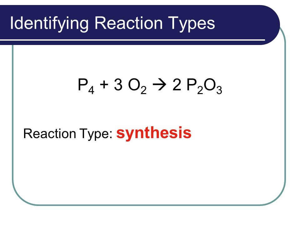 Identifying Reaction Types P 4 + 3 O 2  2 P 2 O 3 Reaction Type: synthesis