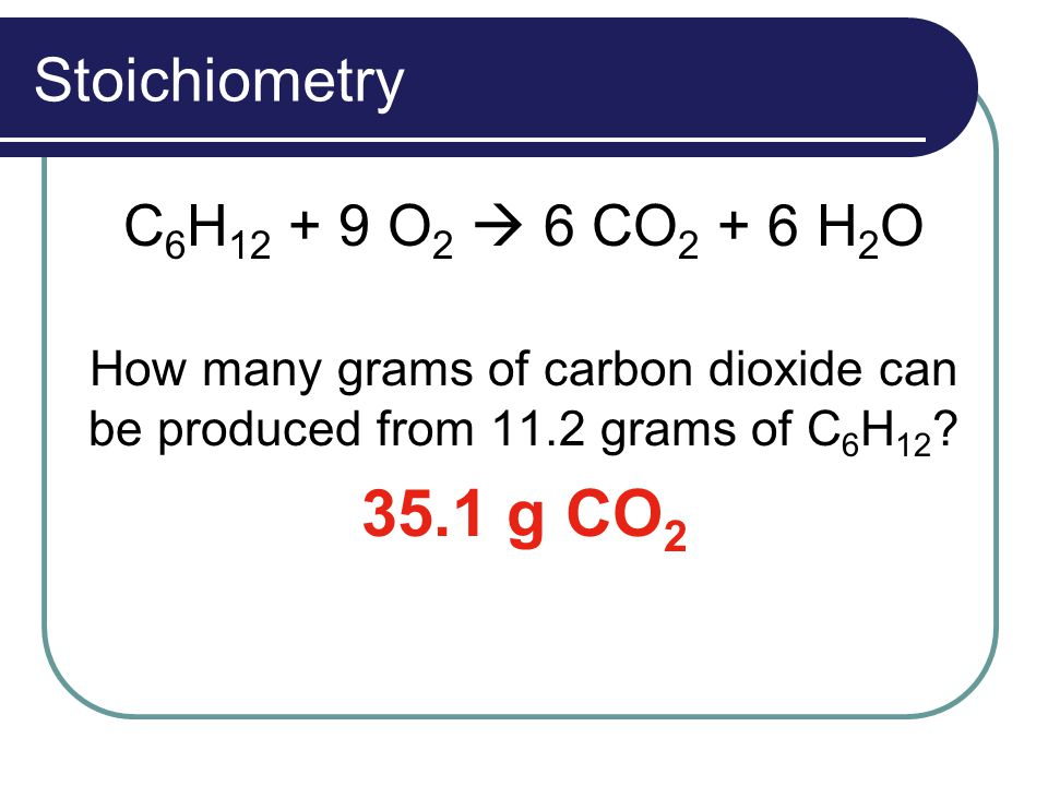 Stoichiometry C 6 H 12 + 9 O 2  6 CO 2 + 6 H 2 O How many grams of carbon dioxide can be produced from 11.2 grams of C 6 H 12 ? 35.1 g CO 2