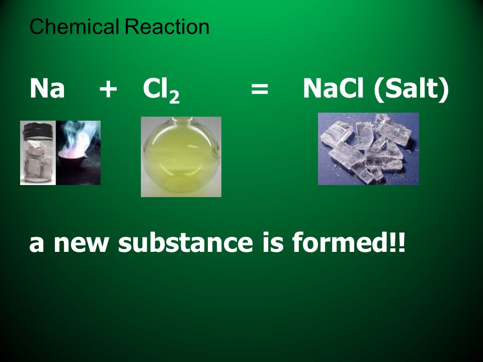Chemical Reaction Na + Cl 2 = NaCl (Salt) a new substance is formed!!