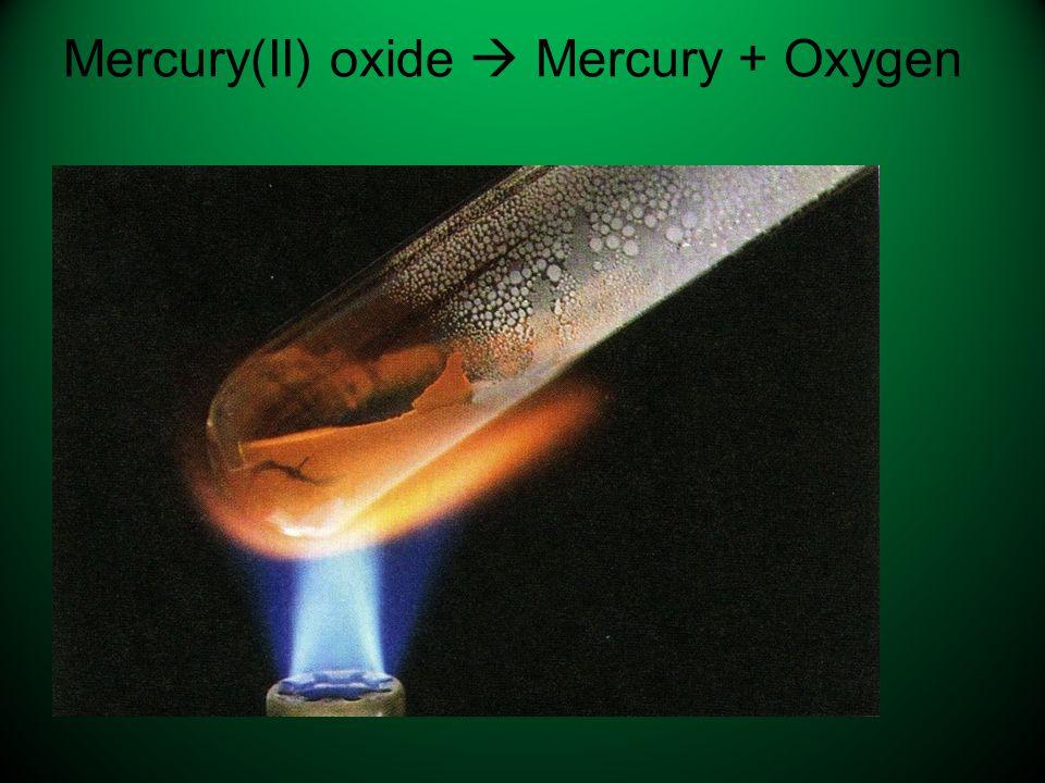 Mercury(II) oxide  Mercury + Oxygen