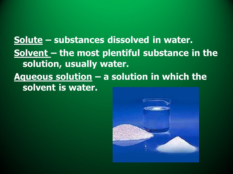 Solute – substances dissolved in water. Solvent – the most plentiful substance in the solution, usually water. Aqueous solution – a solution in which
