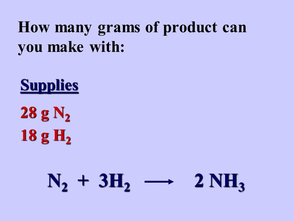 How many grams of product can you make with: Supplies 28 g N 2 18 g H 2 N 2 + 3H 2 2 NH 3