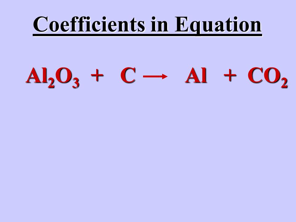 Al 2 O 3 + C Al + CO 2 Coefficients in Equation