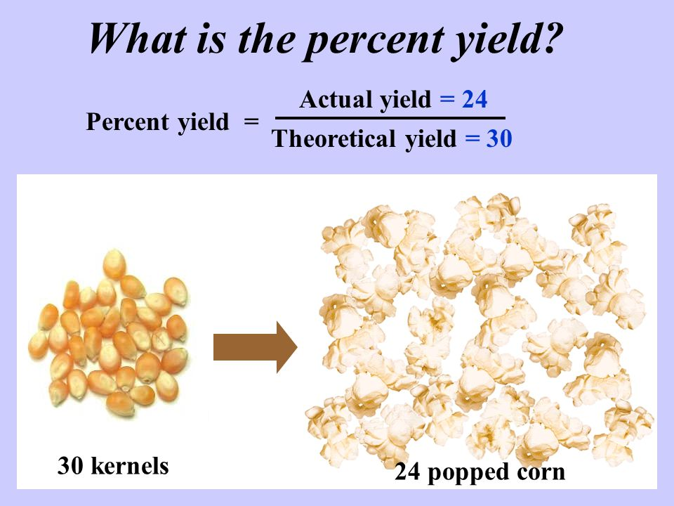 What is the percent yield.
