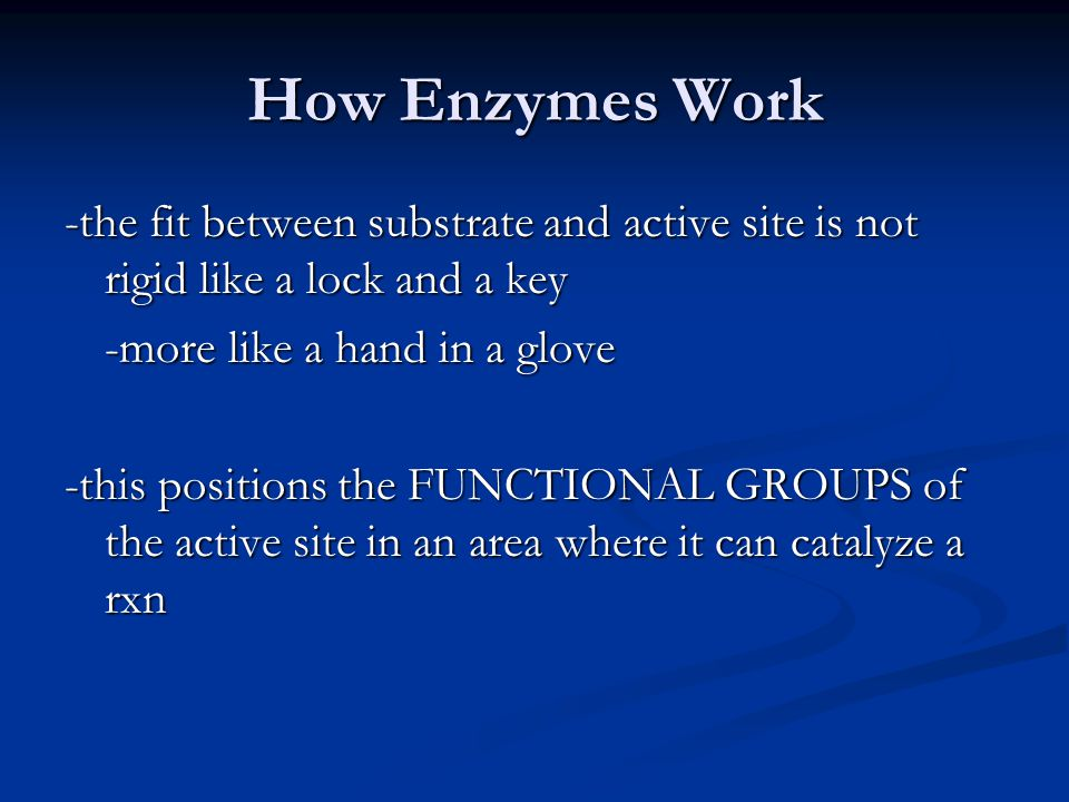 How Enzymes Work -the fit between substrate and active site is not rigid like a lock and a key -more like a hand in a glove -this positions the FUNCTI