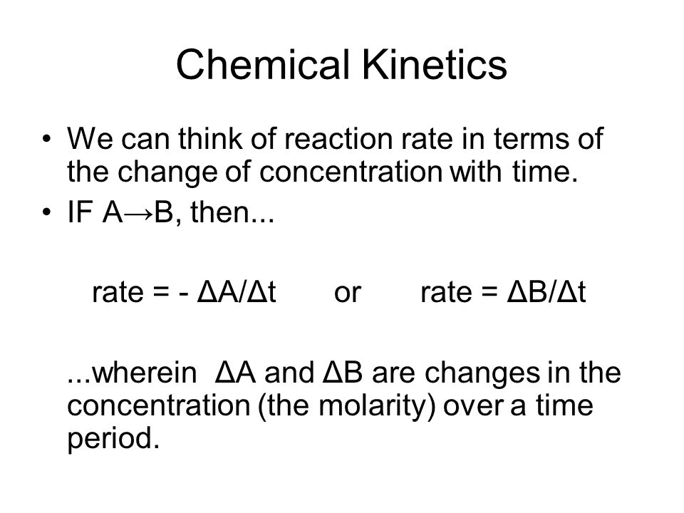 The rate of reaction A→B, represented as the decrease of A molecules with time and as the increase of B molecules with time.