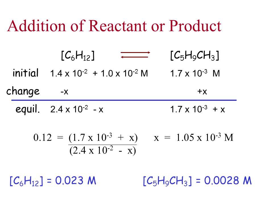 [C 6 H 12 ][C 5 H 9 CH 3 ] initial 1.4 x 10 -2 + 1.0 x 10 -2 M1.7 x 10 -3 M change -x+x equil. 2.4 x 10 -2 - x1.7 x 10 -3 + x 0.12 = (1.7 x 10 -3 + x)