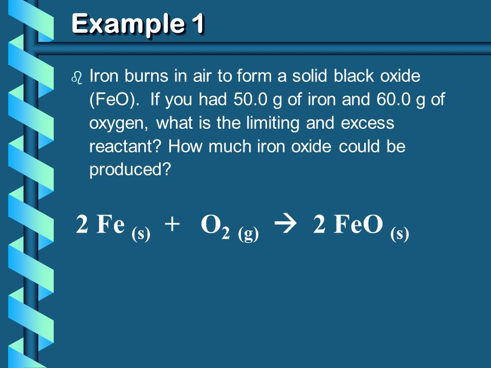 b Iron burns in air to form a solid black oxide (FeO).