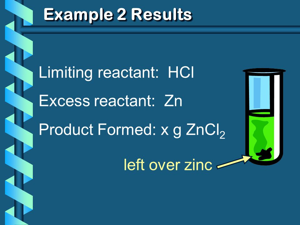 Example 2 Results Limiting reactant: HCl Excess reactant: Zn Product Formed: x g ZnCl 2 left over zinc
