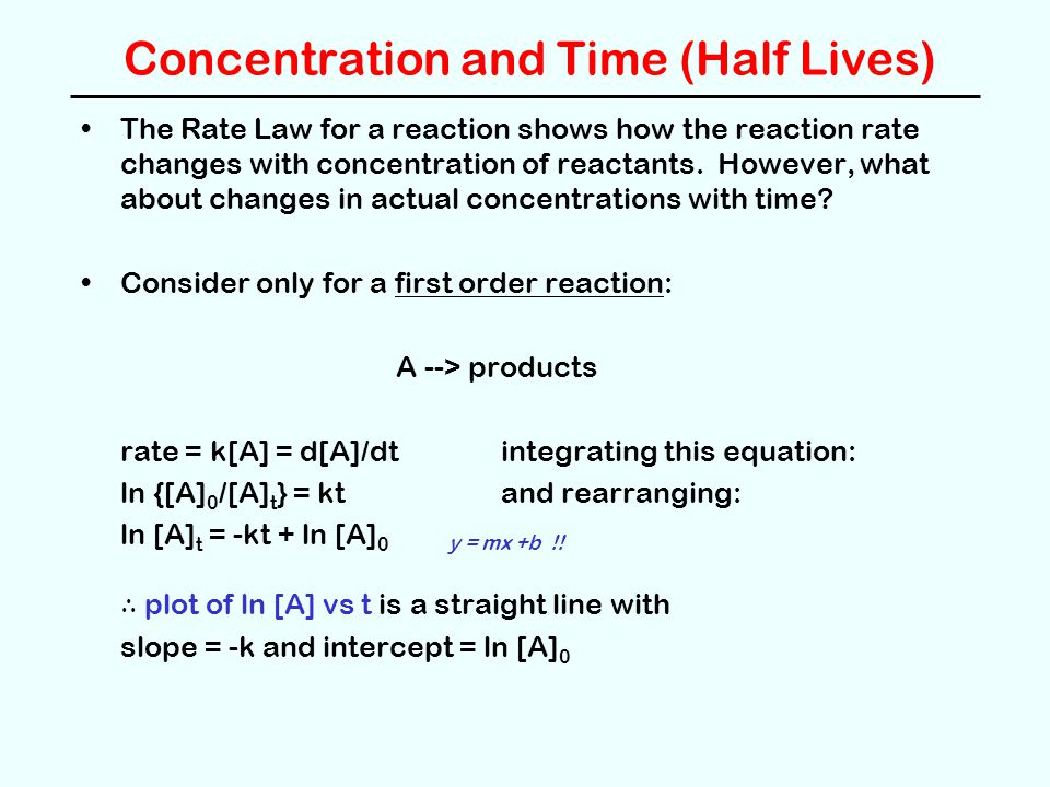 Concentration and Time (Half Lives) The Rate Law for a reaction shows how the reaction rate changes with concentration of reactants. However, what abo