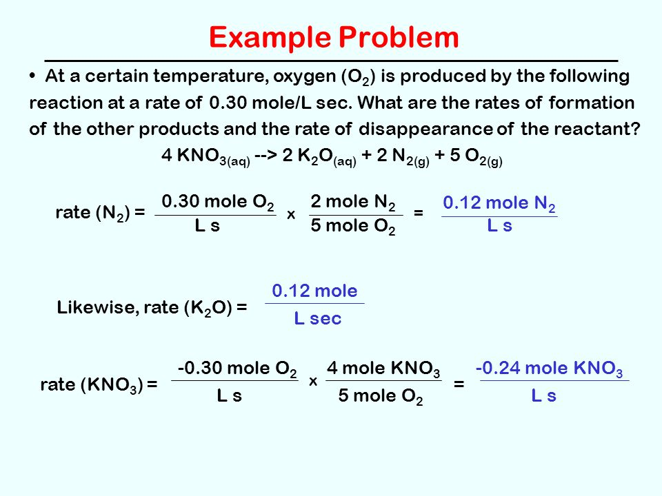 Example Problem At a certain temperature, oxygen (O 2 ) is produced by the following reaction at a rate of 0.30 mole/L sec. What are the rates of form