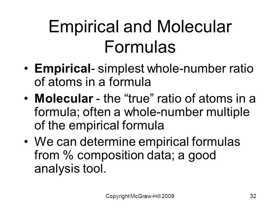 "Copyright McGraw-Hill 200932 Empirical and Molecular Formulas Empirical- simplest whole-number ratio of atoms in a formula Molecular - the ""true"" rati"