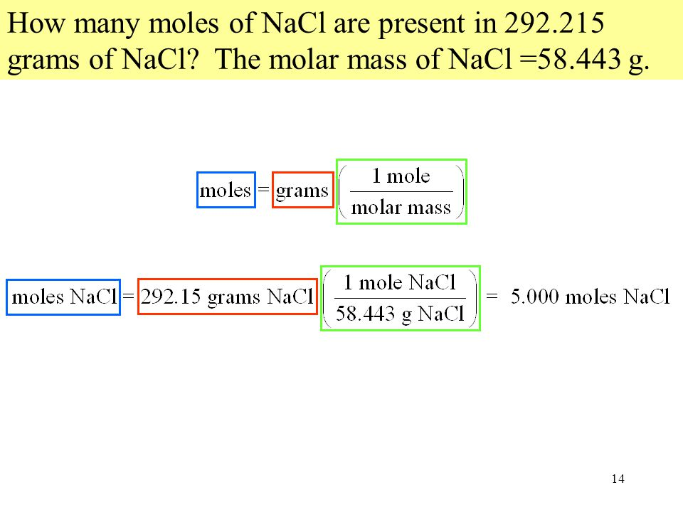 14 How many moles of NaCl are present in 292.215 grams of NaCl The molar mass of NaCl =58.443 g.
