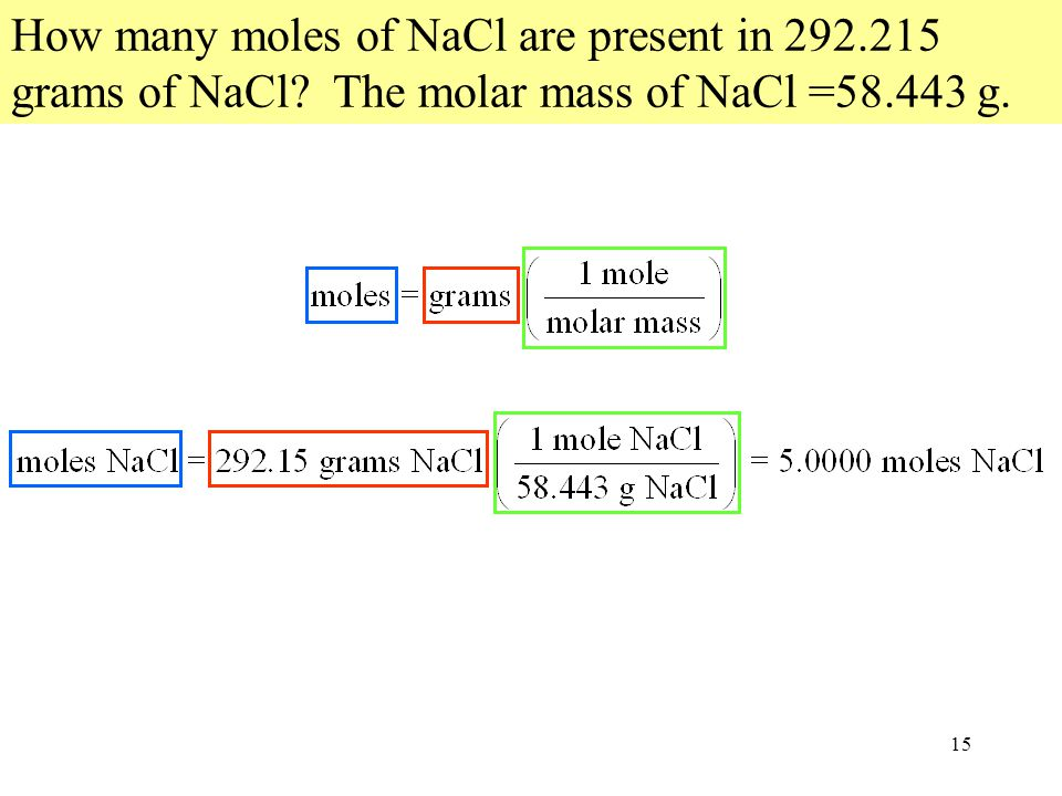 15 How many moles of NaCl are present in 292.215 grams of NaCl The molar mass of NaCl =58.443 g.