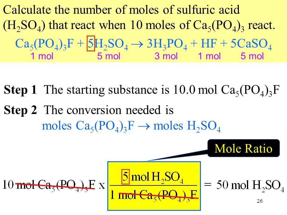 26 Step 2 The conversion needed is moles Ca 5 (PO 4 ) 3 F  moles H 2 SO 4 Calculate the number of moles of sulfuric acid (H 2 SO 4 ) that react when 10 moles of Ca 5 (PO 4 ) 3 react.