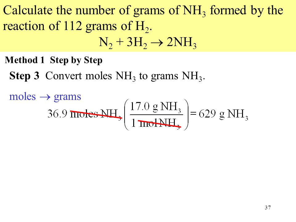 37 Calculate the number of grams of NH 3 formed by the reaction of 112 grams of H 2.