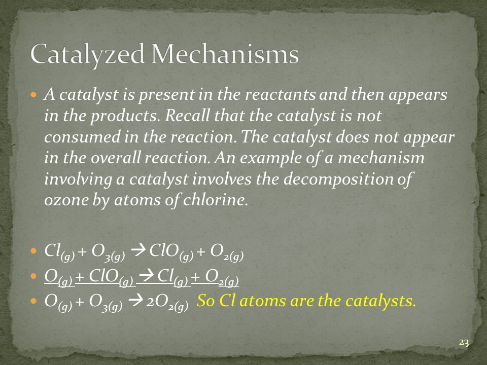 A catalyst is present in the reactants and then appears in the products.