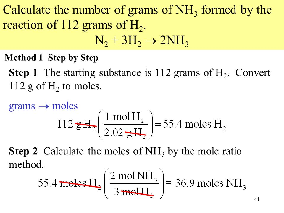 41 Calculate the number of grams of NH 3 formed by the reaction of 112 grams of H 2. N 2 + 3H 2  2NH 3 Method 1 Step by Step Step 1 The starting subs
