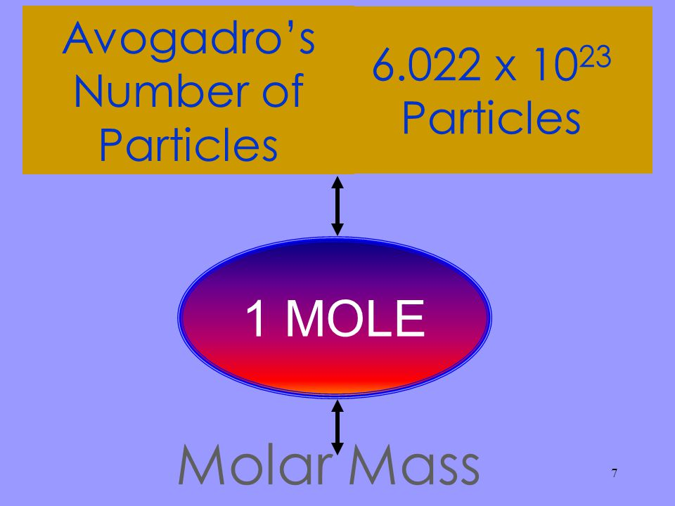 7 Avogadro's Number of Particles 6.022 x 10 23 Particles Molar Mass 1 MOLE