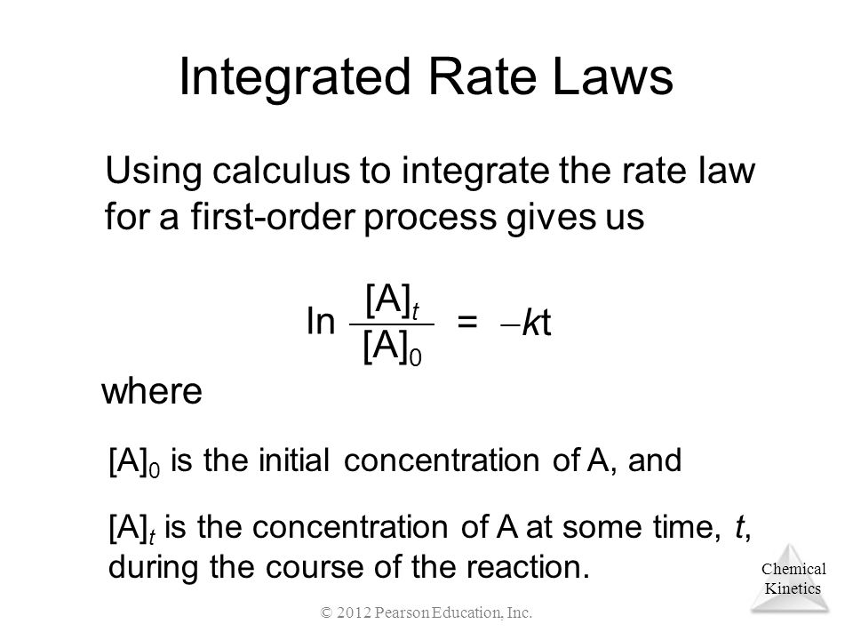 Chemical Kinetics Integrated Rate Laws Using calculus to integrate the rate law for a first-order process gives us ln [A] t [A] 0 =  kt where [A] 0 is the initial concentration of A, and [A] t is the concentration of A at some time, t, during the course of the reaction.