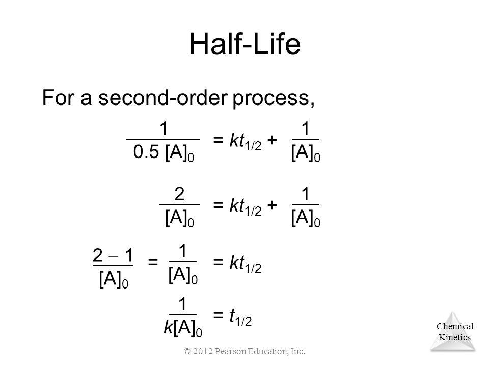 Chemical Kinetics Half-Life For a second-order process, 1 0.5 [A] 0 = kt 1/2 + 1 [A] 0 2 [A] 0 = kt 1/2 + 1 [A] 0 2  1 [A] 0 = kt 1/2 1 [A] 0 == t 1/