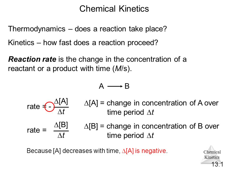 Chemical Kinetics Chemical Kinetics Thermodynamics – does a reaction take place.