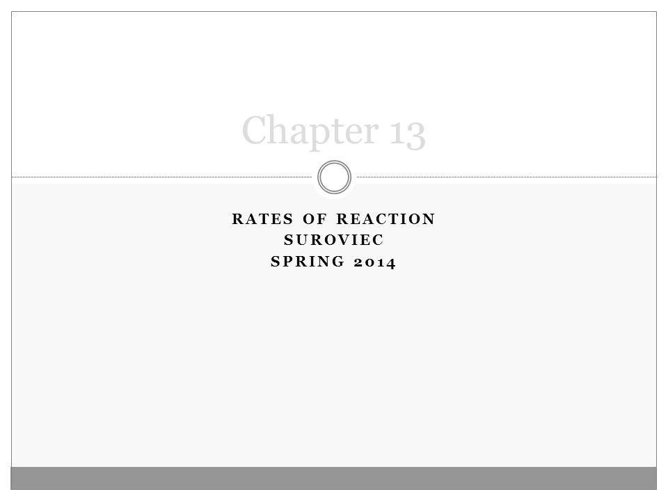 RATES OF REACTION SUROVIEC SPRING 2014 Chapter 13