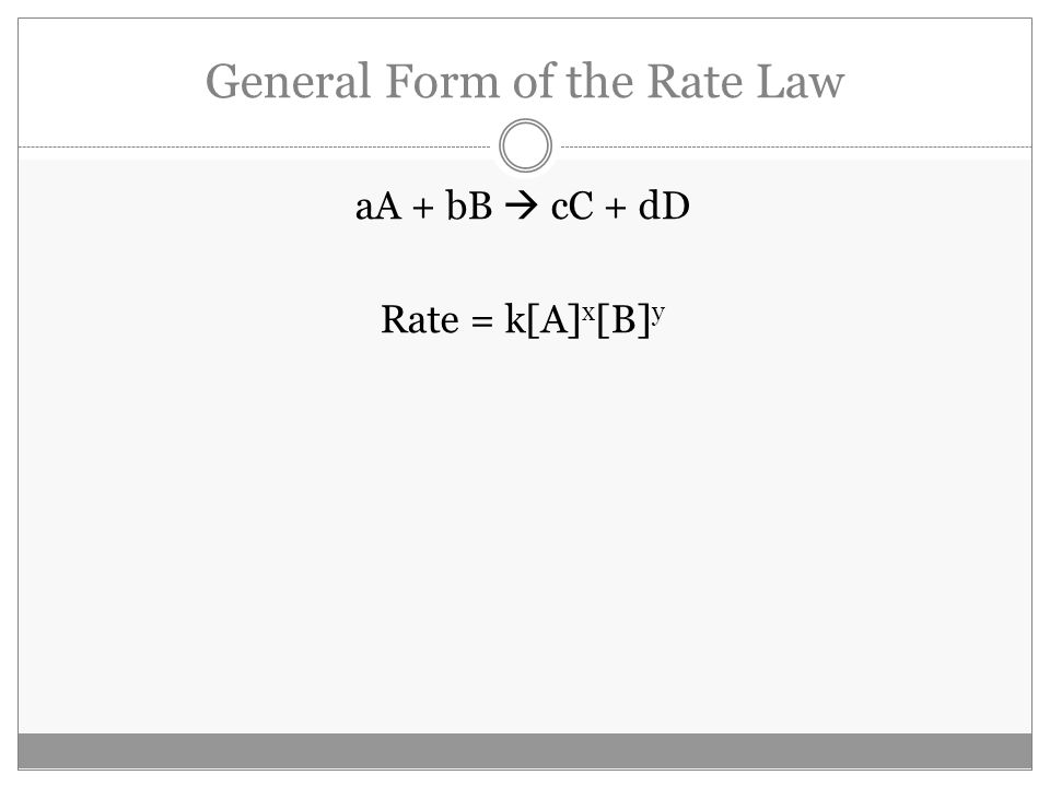 General Form of the Rate Law aA + bB  cC + dD Rate = k[A] x [B] y