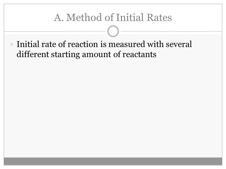 A. Method of Initial Rates Initial rate of reaction is measured with several different starting amount of reactants
