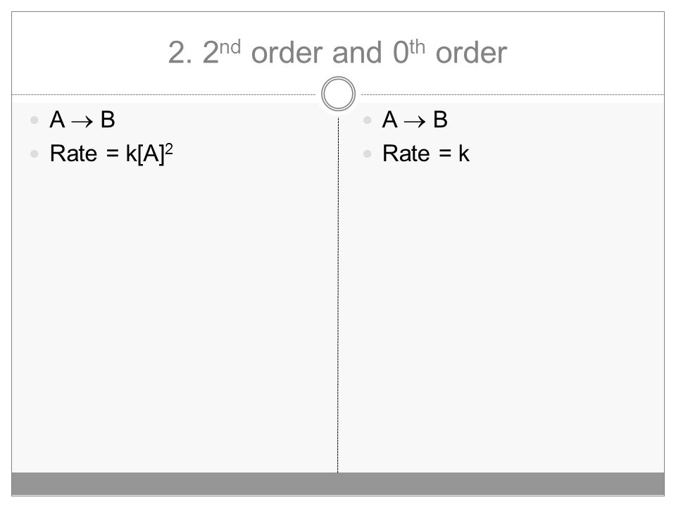 2. 2 nd order and 0 th order A  B Rate = k[A] 2 A  B Rate = k