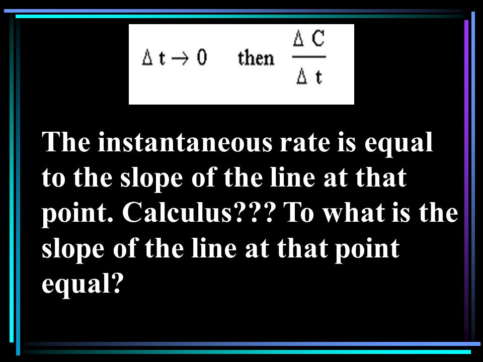 The instantaneous rate is equal to the slope of the line at that point.