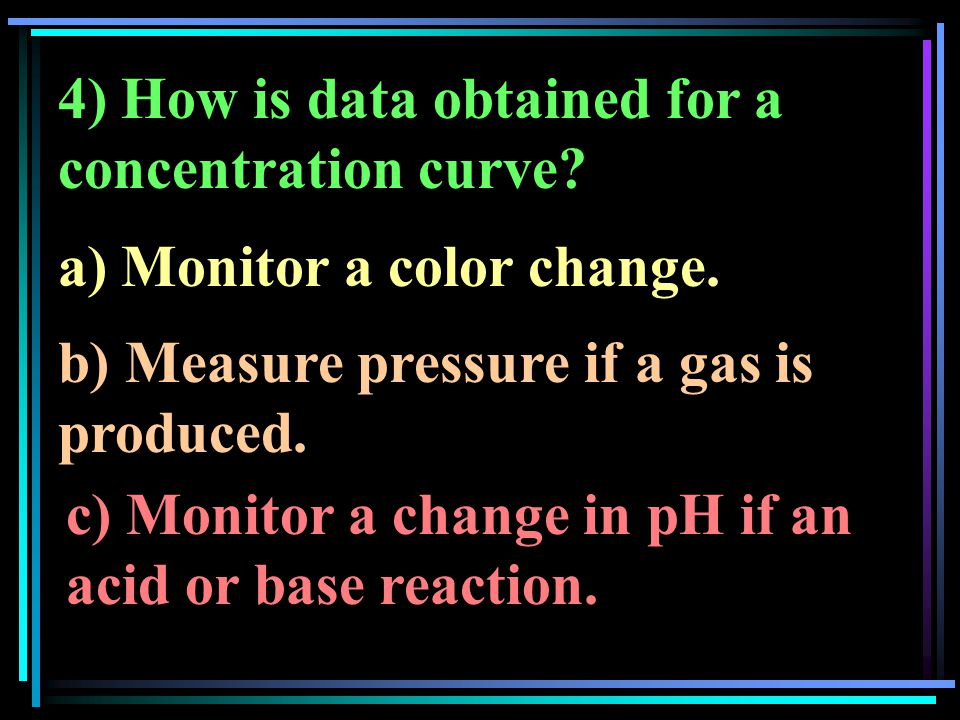 4) How is data obtained for a concentration curve? a) Monitor a color change. b) Measure pressure if a gas is produced. c) Monitor a change in pH if a