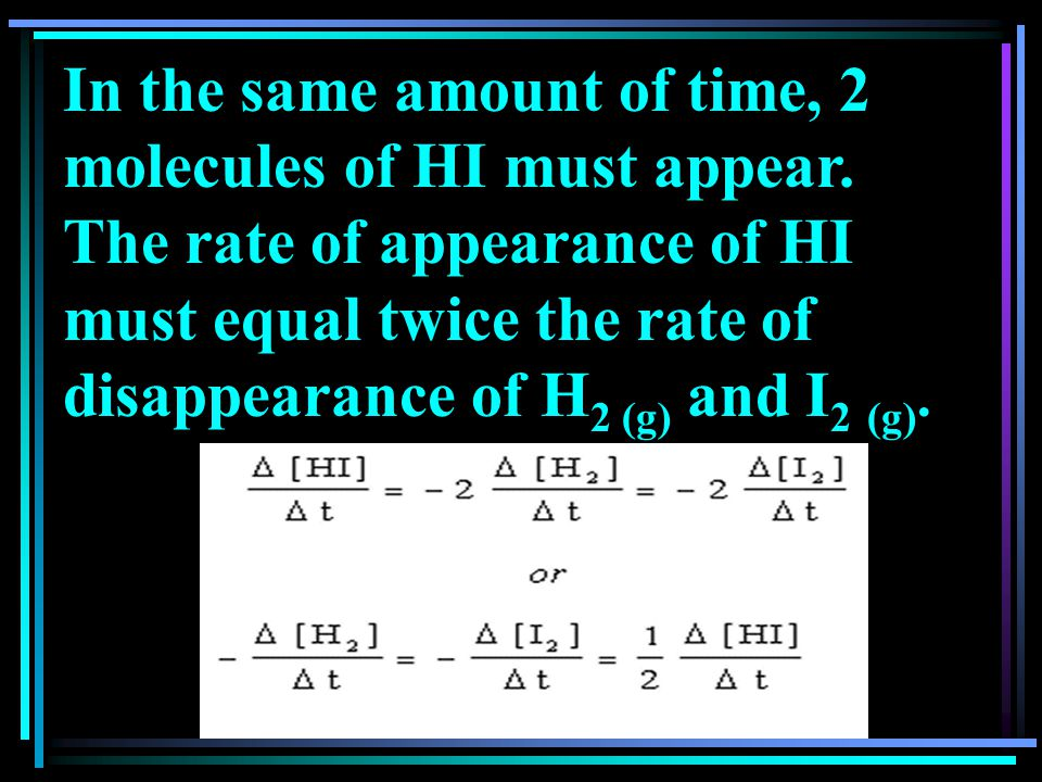 In the same amount of time, 2 molecules of HI must appear.
