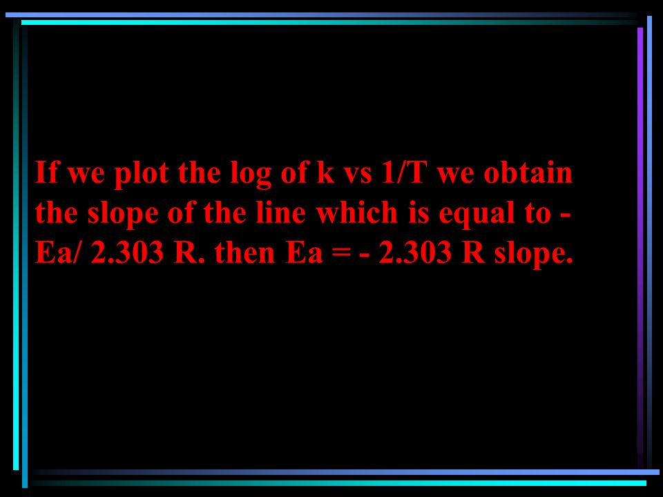 If we plot the log of k vs 1/T we obtain the slope of the line which is equal to - Ea/ 2.303 R.