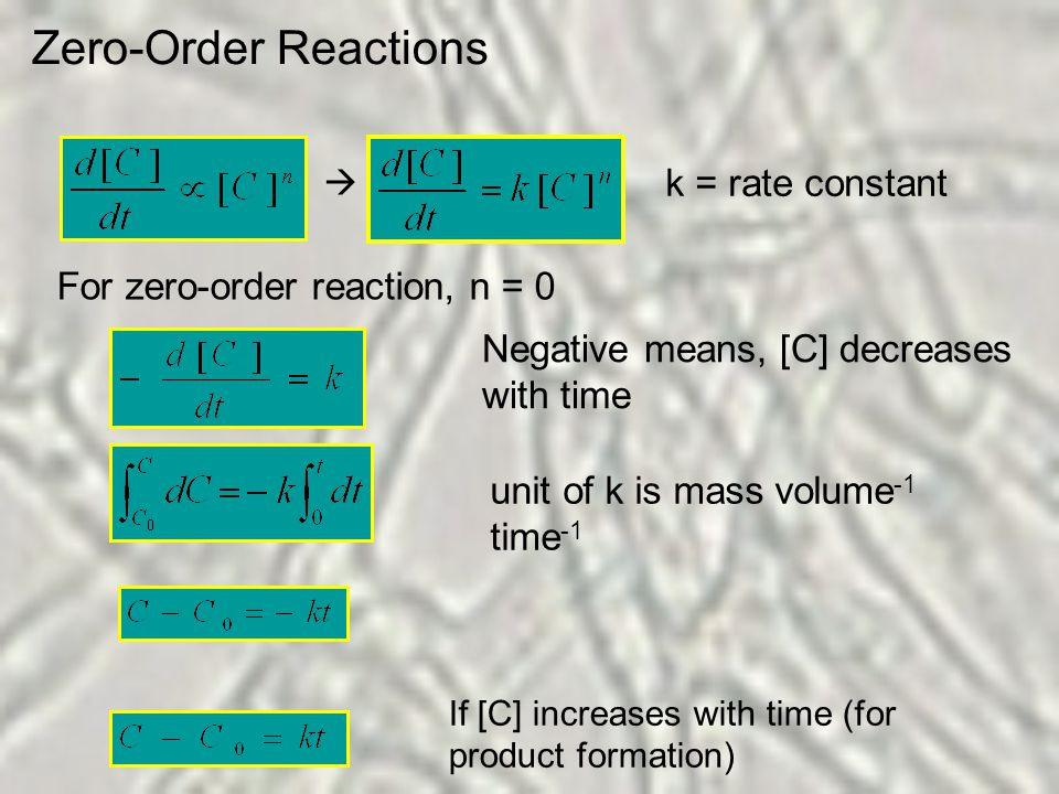 Zero-Order Reactions k = rate constant  For zero-order reaction, n = 0 Negative means, [C] decreases with time unit of k is mass volume -1 time -1 If [C] increases with time (for product formation)