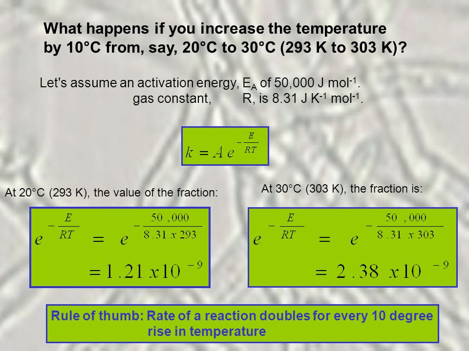 What happens if you increase the temperature by 10°C from, say, 20°C to 30°C (293 K to 303 K).
