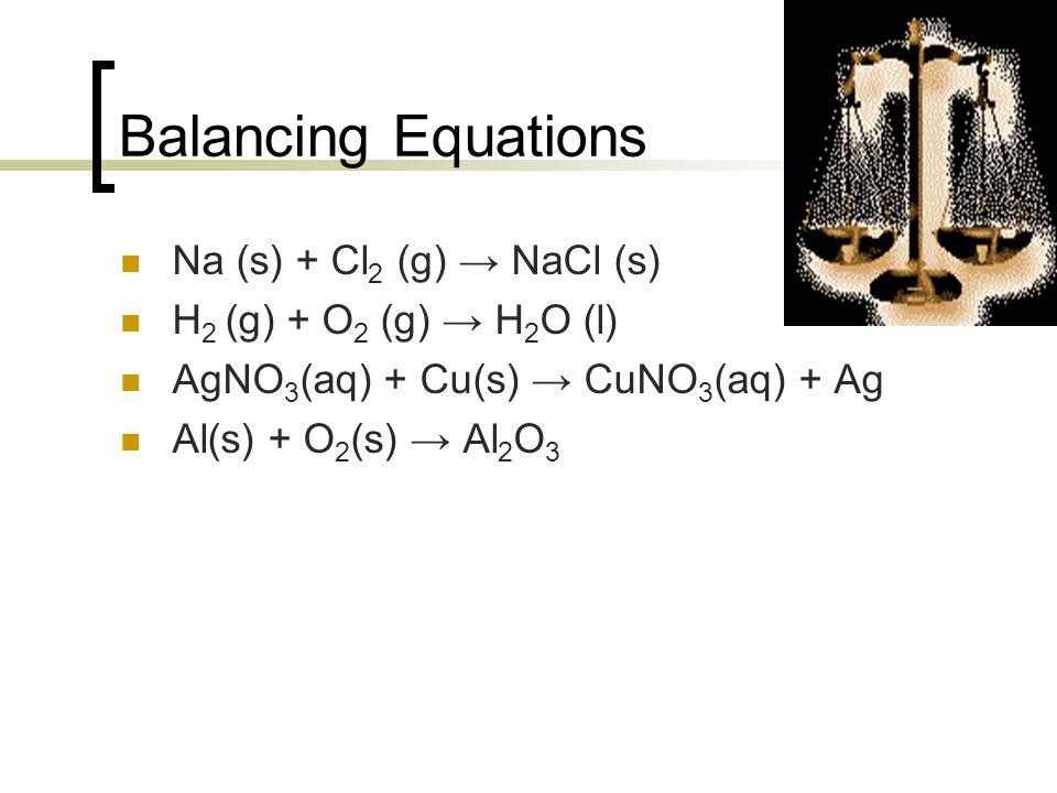 Balancing Equations Na (s) + Cl 2 (g) → NaCl (s) H 2 (g) + O 2 (g) → H 2 O (l) AgNO 3 (aq) + Cu(s) → CuNO 3 (aq) + Ag Al(s) + O 2 (s) → Al 2 O 3