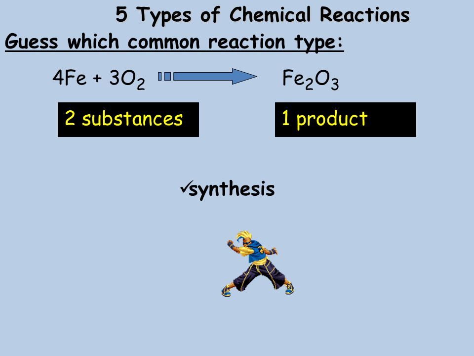 5 Types of Chemical Reactions Guess which common reaction type: synthesis 4Fe + 3O 2 Fe 2 O 3 2 substances1 product