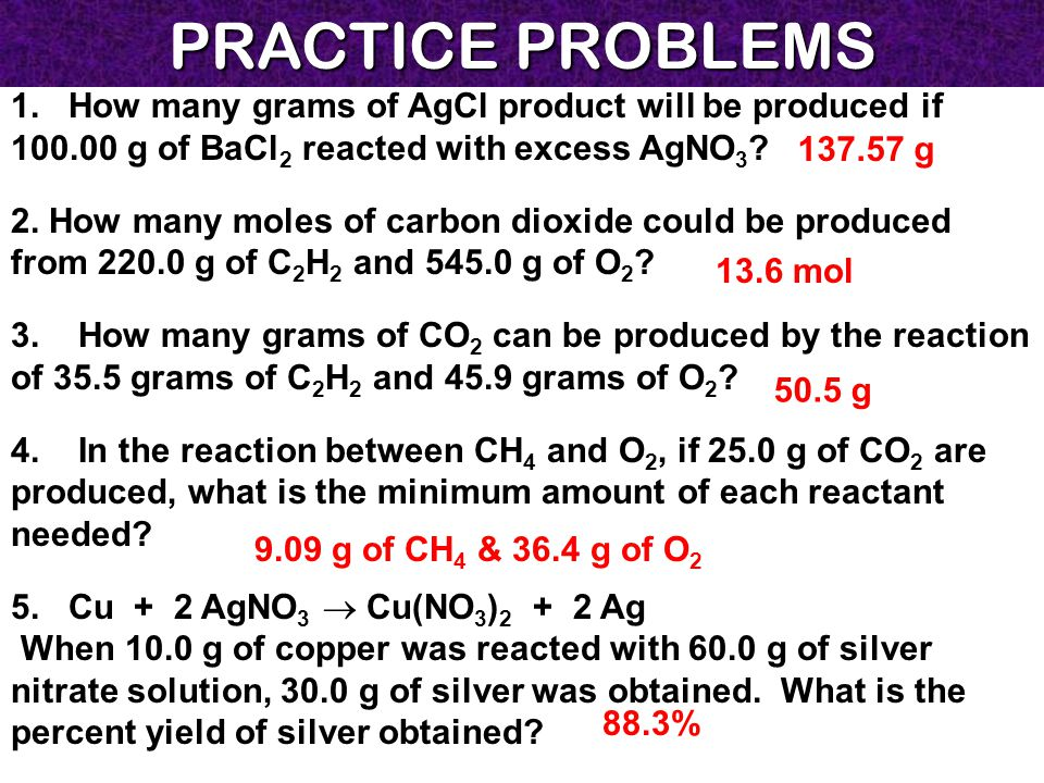 PRACTICE PROBLEMS 1. How many grams of AgCl product will be produced if 100.00 g of BaCl 2 reacted with excess AgNO 3 ? 2. How many moles of carbon di